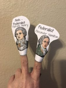 Finger Puppets to teach constitution history.